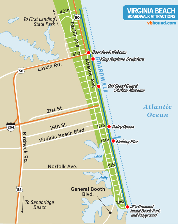 Boardwalk attractions map virginia beach vacation guide for Long beach fishing spots