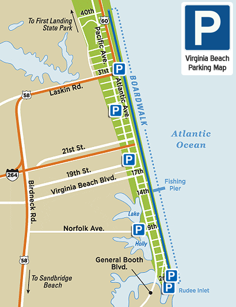 Virginia Beach Parking Map | Virginia Beach Vacation Guide